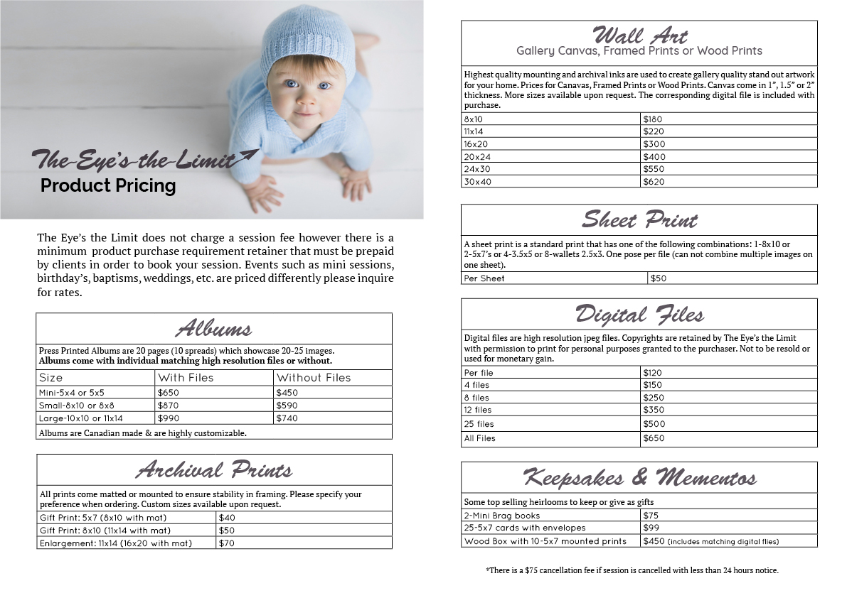 Cambridge Ontario Photographer Product pricing guide